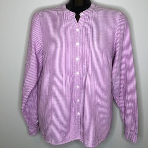 L.L.Bean purple stripe collarless buttoned shirt S